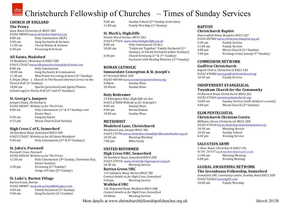 Church Services List